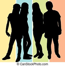People, illustration - People, group of 4 men and women...
