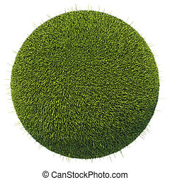 Eco and environment: green fresh grass globe isolated