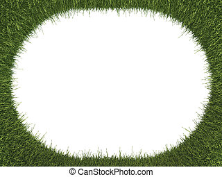 Green fresh grass rounded frame: ecology and environment