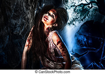 moonlight - Bloodthirsty zombi standing at the night...