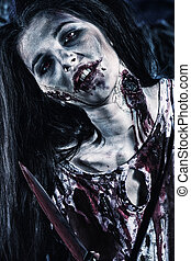 vampire blood - Close-up of a bloodthirsty zombi standing at...