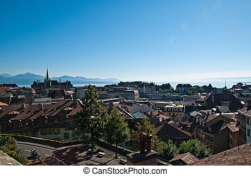 Lausanne overview in Leman Lake Vaud Switzerland