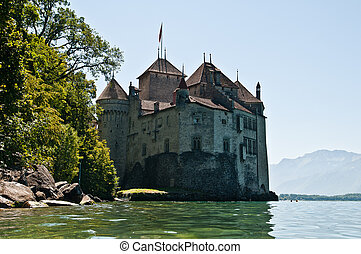 Chillon Castle in Leman Lake Montreux Vaud Switzerland