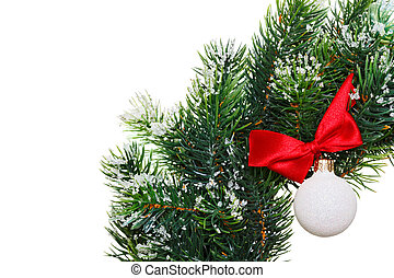 Christmas wreath with decoration ball, isolated on white