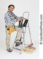 Self-employed laborer on white background