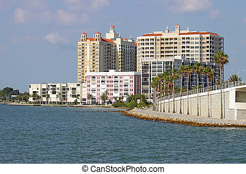 Partial skyline of Sarasota, Florida, viewed from the water...