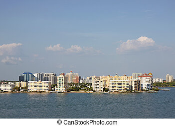Skyline of Sarasota, Florida, viewed from above the water -...