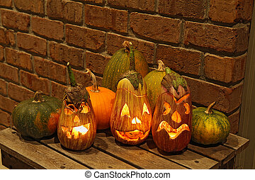 Squashes and carved eggplants at halloween - Carved eggplant...