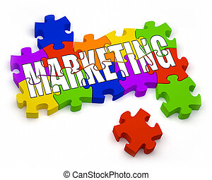 Marketing - 3D jigsaw pieces with text Part of a series