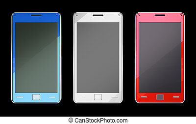 Smart phones in red blue and white colours over black
