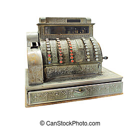 Antique crank-operated cash register - isolated on white