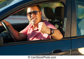 Violent driver - Macho type of driver about to lose it
