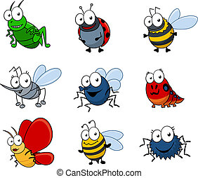 Cartoon insects set - Set of cartoon insects isolated on...