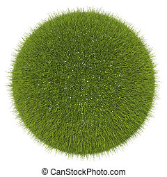 World of grass and flowers: green globe isolated
