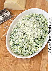 Making Hot Spinach Dip