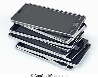 Heap of smart phones over white