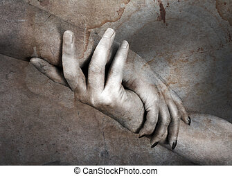 Trust - Hands of the man and the woman on a background of an...