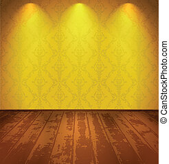 Yellow vintage room - Lightened yellow vintage room with...