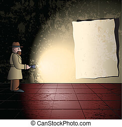 Detective in the grungy room - Detective with torch in the...