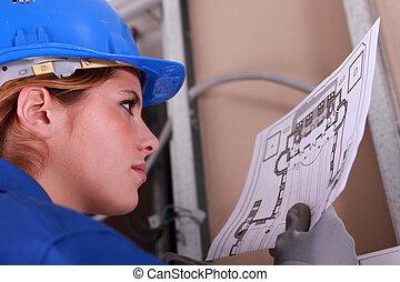 diagramme, lecture, électricien, femme