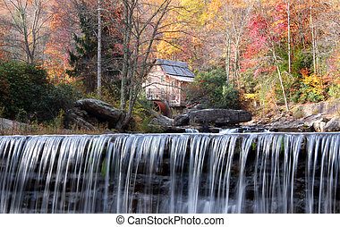 Babcock state park in autumn time