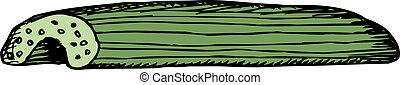 Single Celery Stick - Single cut celery stick cartoon over...