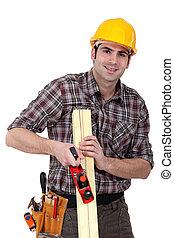 woodworker, trabajando, escofina