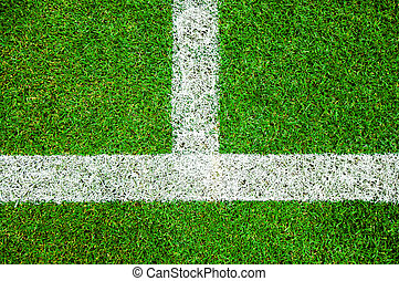 White line on the green soccer field from top view