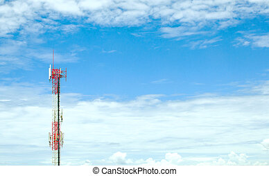 GSM network antenna on blue sky