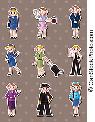 cartoon flight attendantpilot stickers