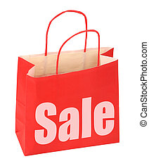shopping bag with red sale sign on white background, photo...