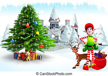 elves with christmas tree - 3d art illustration elves with...