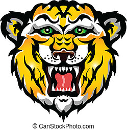 tiger head tattoo tribal - vector illustration of tiger head...