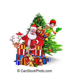 santa with a lots of gifts - 3d art illustration santa with...