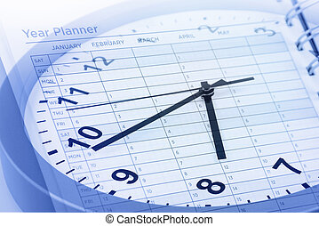 Time management - Clock face and year planner
