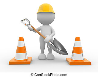 Traffic cones - 3d people - man, person with traffic cones...