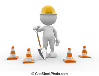 Shovel - 3d people - man, person with traffic cones and a...