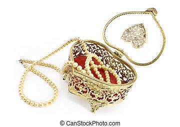 箱, 金, 宝石類, ネックレス, 真珠