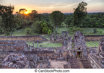Sunset at the temple - Sunset scene at the ruins of Pre Rup...