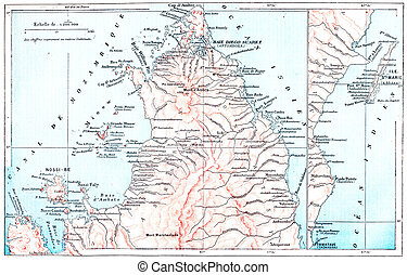 Topographical Map of Saint Marys Island, in Madagascar,...