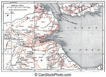 Topographical Map of Obock in Djibouti, vintage engraving -...