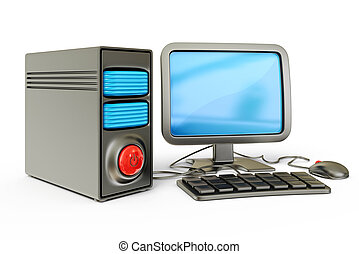 computer - desktop computer isolated on a white background