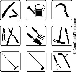 Gardening Tools - Garden tools black and white silhouettes