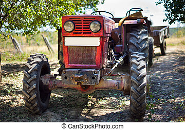 Tractor with trailer in an orchard