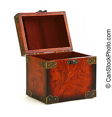 open antique wooden trunk on white background, natural...