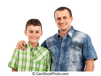 Father and son posing together in studio - Closeup portrait...