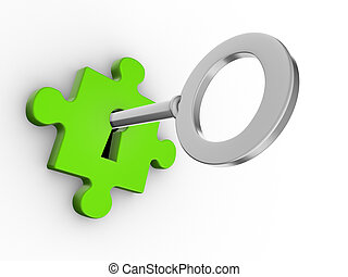 Puzzle - Jigsaw puzzle piece with key. 3d render
