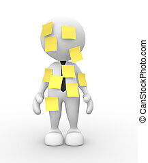 Businessman - 3d people - man, person with a yellow paper....