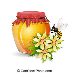 Honey jar isolated on white - Honey jar with bee and flowers...