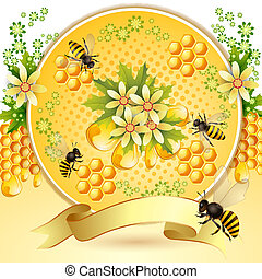 Background with bees, honeycomb and beautiful flowers